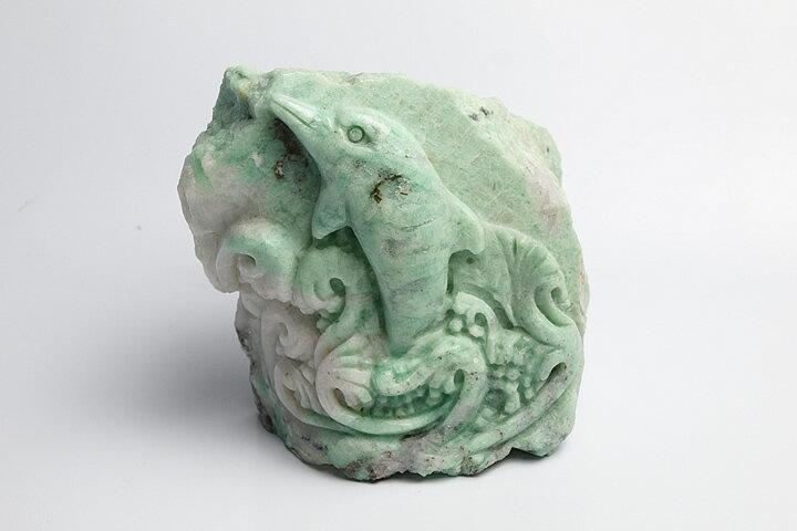 ザンビア産エメラルド彫刻品 イルカ彫刻:ギャラリーメイスン