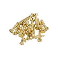 ブラス・スクリュー・オーバル・ヘッド#6×3/4インチ(長さ19.05mm)※1パック(約20本)ずつの販売です。...[家具用補修用][金物ネジアンティーク][真鍮ゴールド][DIYリノベーションリメイク]