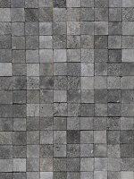 天然溶岩石を切り出した、正方形の石材タイル。内装の壁・床や外構にお使いください。自然なグレーの濃淡と多孔質のザラついた質感が魅力です。
