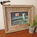 バーン・ウッド・フレーム 5×7インチ※ガラスと壁掛けフックは別売です。【額縁 木製 フレーム2L判 写真 イラスト グレー 古材 アンティーク リビング ディスプレイ ウェルカムボード おしゃれ】の写真