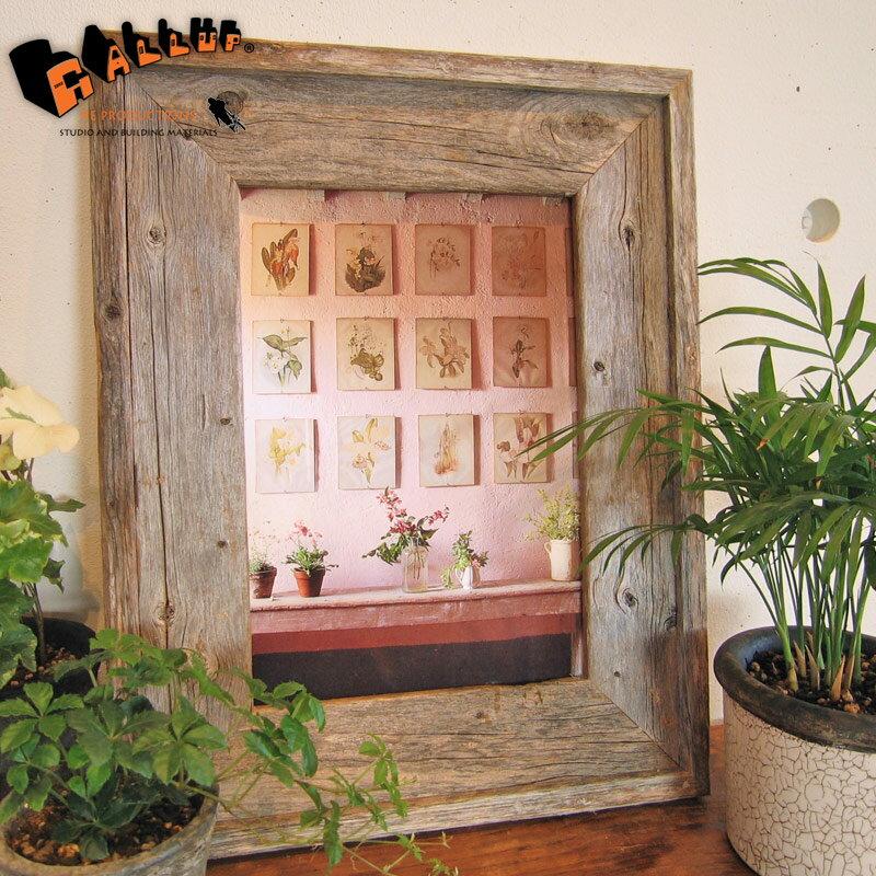 バーン・ウッド・フレーム A4サイズ※ガラスと壁掛けフックは別売です。【額縁 木製 フレーム 写真 ポスター イラスト グレー 古材 アンティーク リビング ディスプレイ ウェルカムボード おしゃれ】