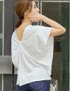 後ろ姿で魅せる大人のリラックスカットソーM/Lサイズ バックツイストカットソートップス レディース Tシャツ 綿100% コットン バックコンシャス Vネック 綿100% シルケット 天竺