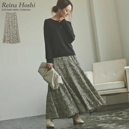 [低身長向けSサイズ対応]総柄マキシ丈スイングフレアスカート
