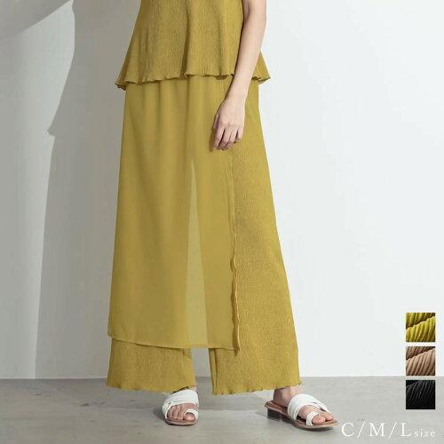 [低身長向けSサイズ対応]楊柳シフォンラップデザインパンツ