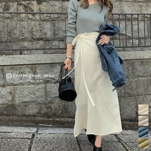 ウエストリボンラップナロースカート