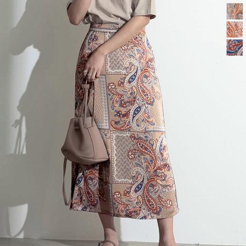 ペイズリー柄サテンナロースカート