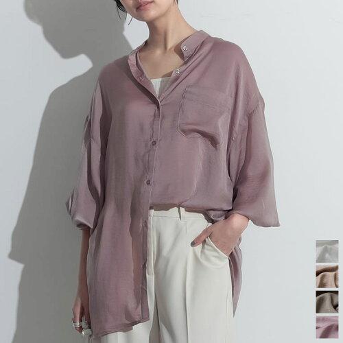 ヴィンテージサテンスタンドカラーシアーシャツ