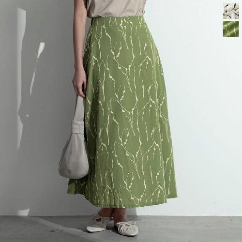 総柄ロング丈フレアスカート