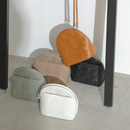 フェイクレザー編みこみデザインミニバッグ
