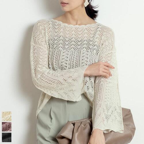 シースルー透かし編みプルオーバー