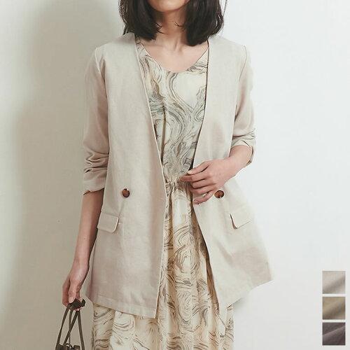 綿麻ノーカラージャケット