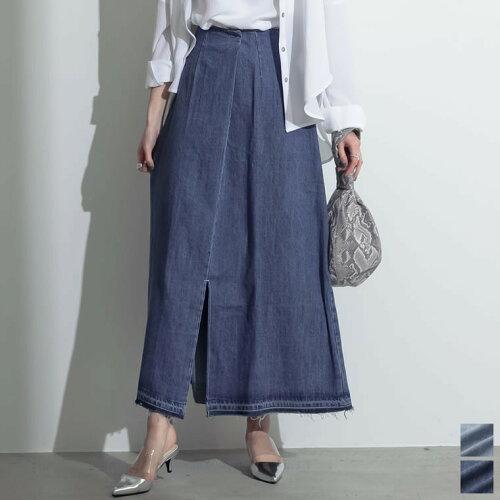 [お家で洗える][低身長向けSサイズ対応]タックデザインフロントスリットナロースカート