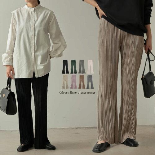 [近藤千尋さん着用][お家で洗える][低身長向け/高身長向けサイズ対応]楊柳マットプリーツキックフレアパンツ