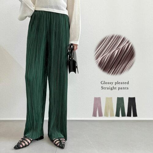 [近藤千尋さん着用][お家で洗える][低身長向け/高身長向けサイズ対応]楊柳マットプリーツストレートパンツ