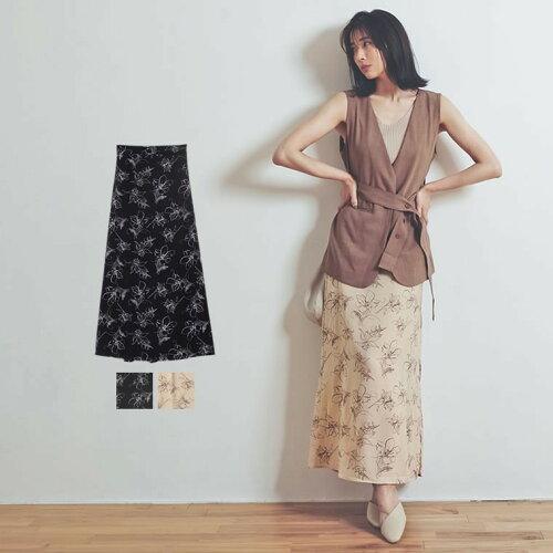 [お家で洗える]ペインティング花柄ロングスカート