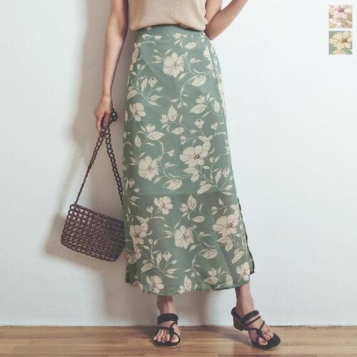 [お家で洗える]ペインティング花柄スリットロングスカート