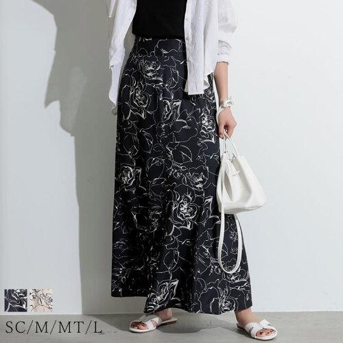 [お家で洗える][低身長向け/高身長向けサイズ対応]花柄ロングハイウエストナロースカート