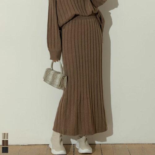 [低身長向けSサイズ対応]バルキーワイドリブニットスカート