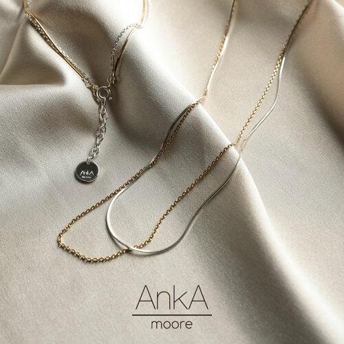 [AnkA moore(アンカムーア)]ツインカラー2連シルバーネックレス