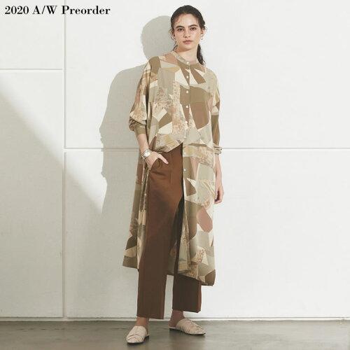 [2020A/W PRE ORDER][低身長向け/高身長向けサイズ対応]モダン柄バンドカラーシャツワンピース