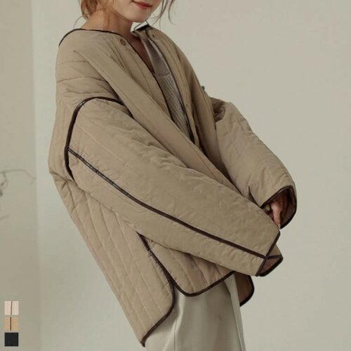 パイピング中綿キルティングミドルジャケットコート
