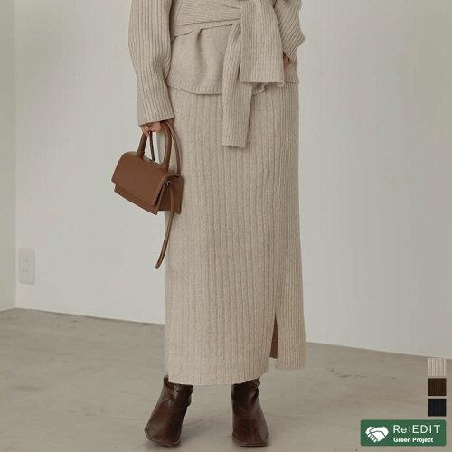 [サステナブル][低身長向けSサイズ対応]リサイクルニットアシメリブタイトスカート