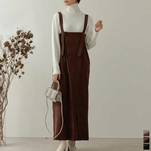 [低身長向け/高身長向けサイズ対応]起毛ツイルアシメジップジャンパースカート