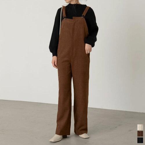 [低身長向け/高身長向けサイズ対応]起毛ツイルストレートサロペット