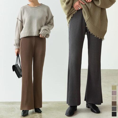 [低身長向け/高身長向けサイズ有]コーデュロイ風ストレッチセミフレアパンツ