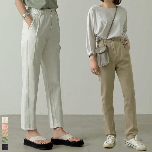 [低身長/高身長サイズ有]カラーツイルタックテーパードパンツ
