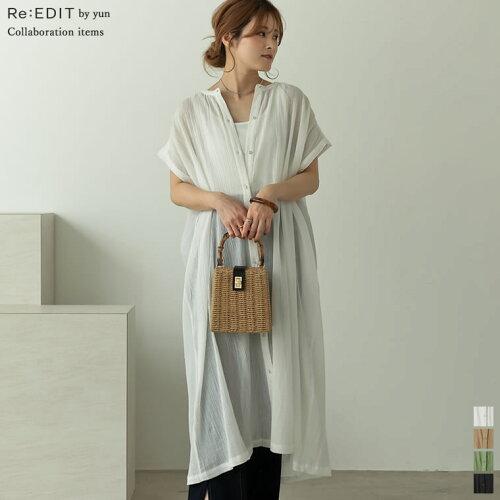 [Re:EDIT by yun(リエディバイユン)]インド綿楊柳バンドカラーフレンチスリーブシャツワンピース