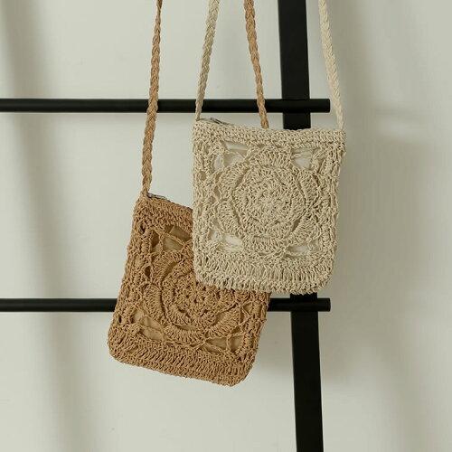 透かし編みミニショルダーバッグ