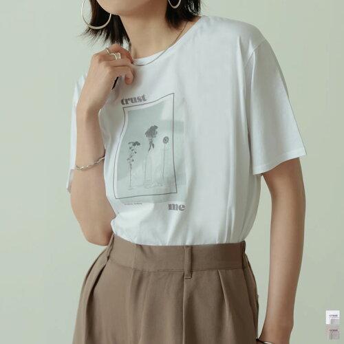 シルケットコットンフラワーフォトプリント半袖Tシャツ