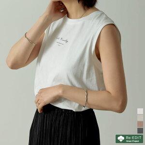オーガニックコットンロゴプリントノースリーブTシャツ