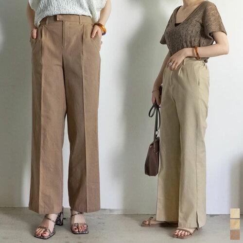 [低身長サイズ有]ストレッチコットン裾ベンツセンタープレスパンツ