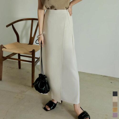 [低身長/高身長サイズ有]ストレッチツイルラップカラースカート