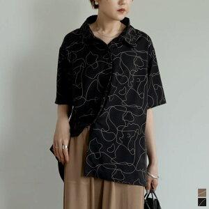 線画とろみオーバーサイズ半袖シャツ