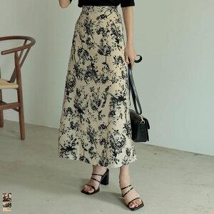 [低身長/高身長サイズ有]デシン花柄ナロースカート