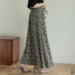 [低身長/高身長サイズ有]レオパード柄マキシフレアスカート