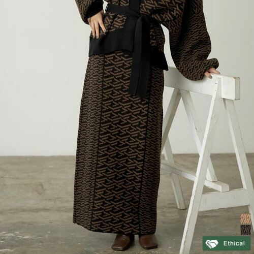 [低身長サイズ有]グラフィックジャガードニットナロースカート
