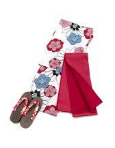 [3点セット]平織り花柄浴衣