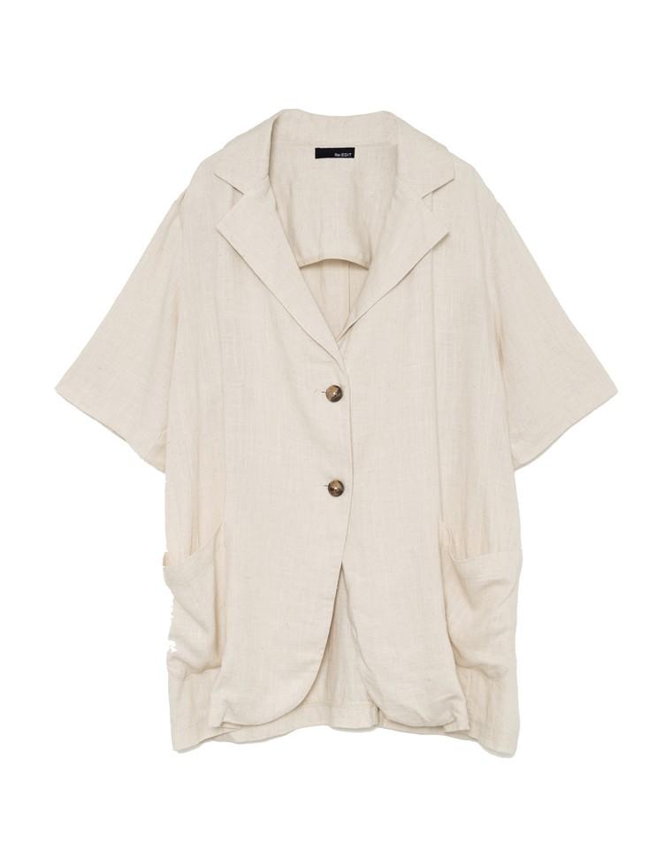 softリネン半袖シャツジャケット