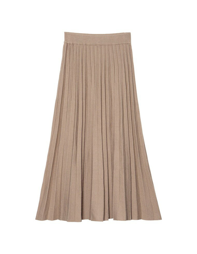 [星玲奈さん着用][低身長向けSサイズ対応]ソフトニットプリーツロングスカート
