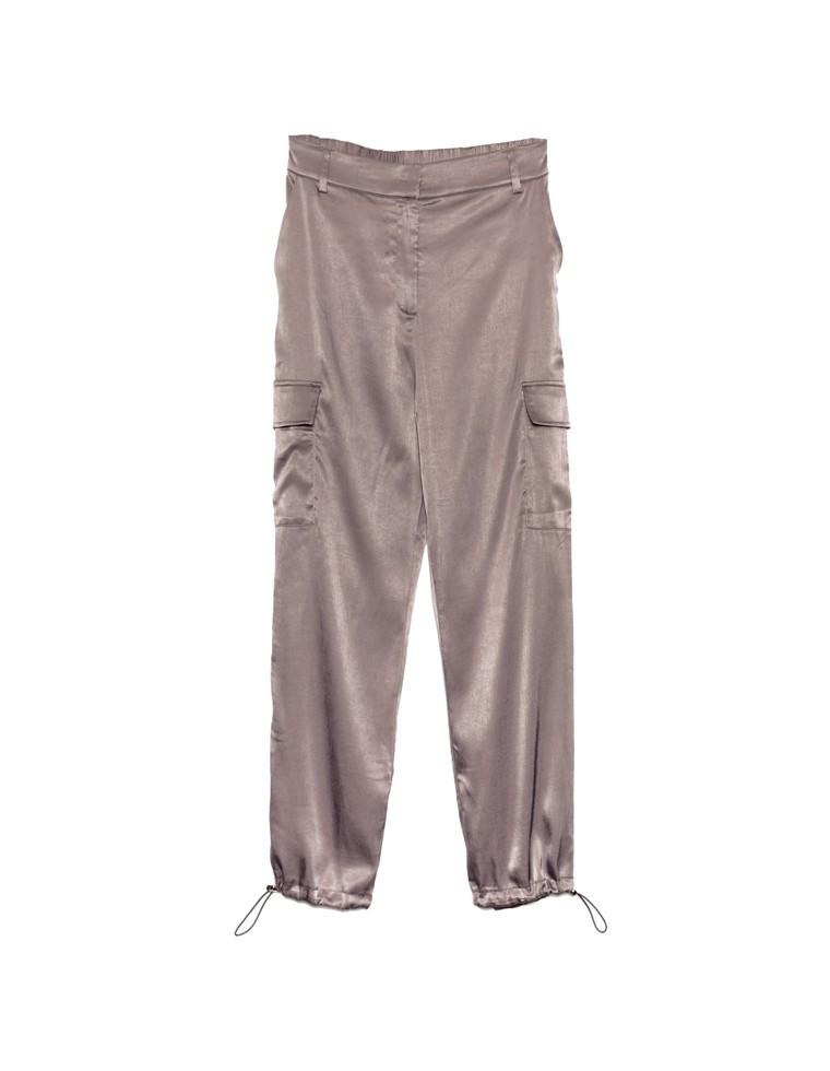 [低身長向けSサイズ対応]裾絞りサテカーゴパンツ