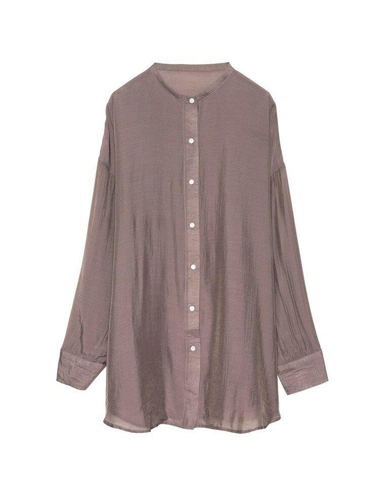 [人気インフルエンサー8miiiko9さん着用]レーヨンブレンドマオカラーシアーシャツ