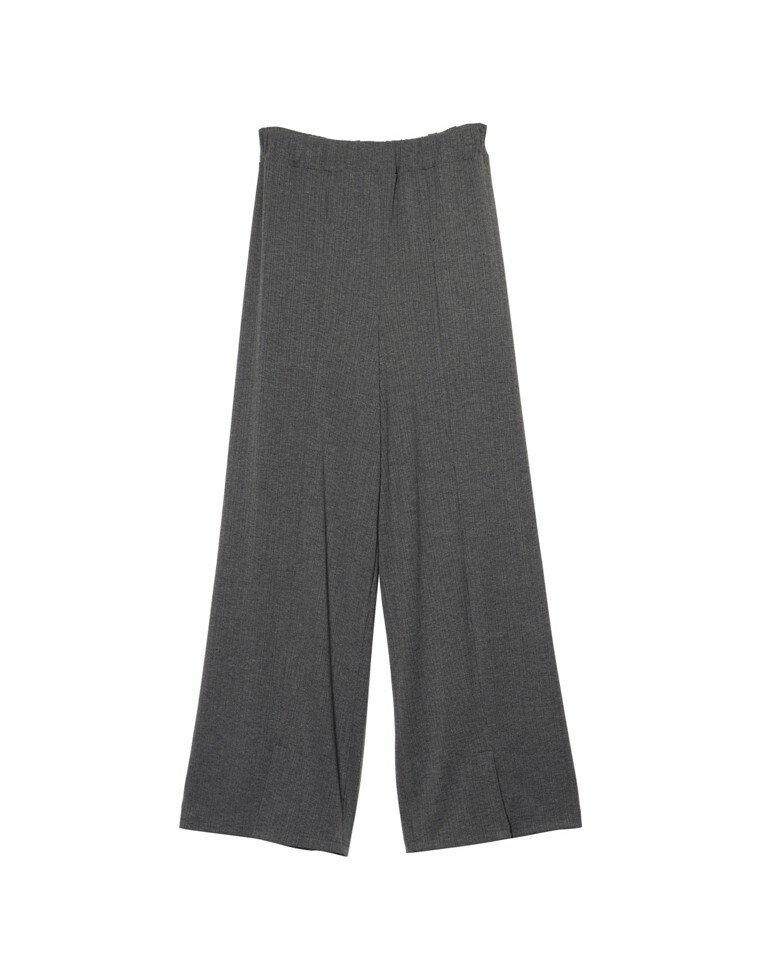 [低身長向けSサイズ対応][高身長向けMサイズ対応]美シルエット裾スリットリラックスパンツ
