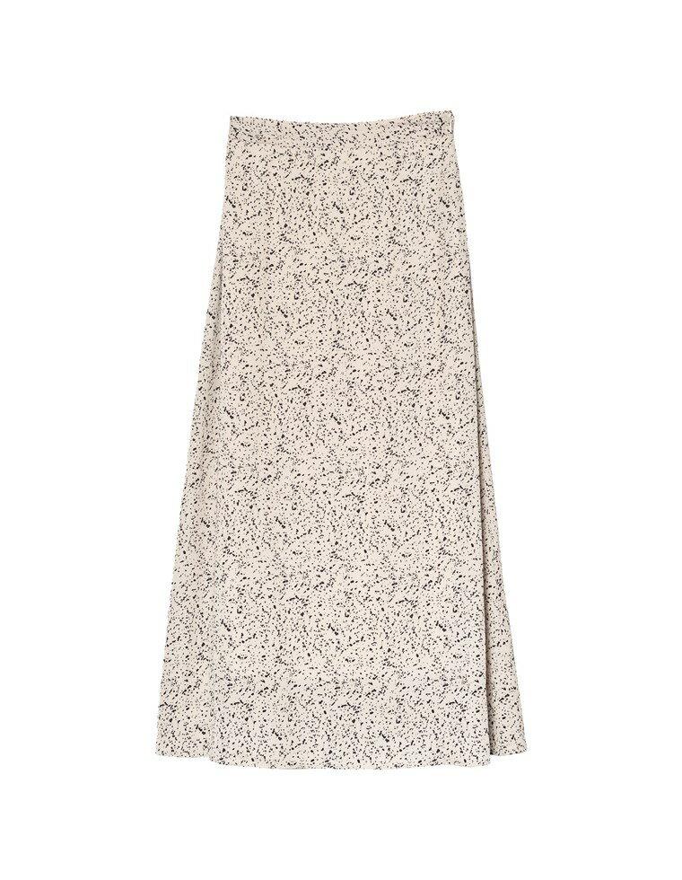 [2020A/W PRE ORDER][低身長向けSサイズ対応]ニュアンスドット柄セミフレアスカート