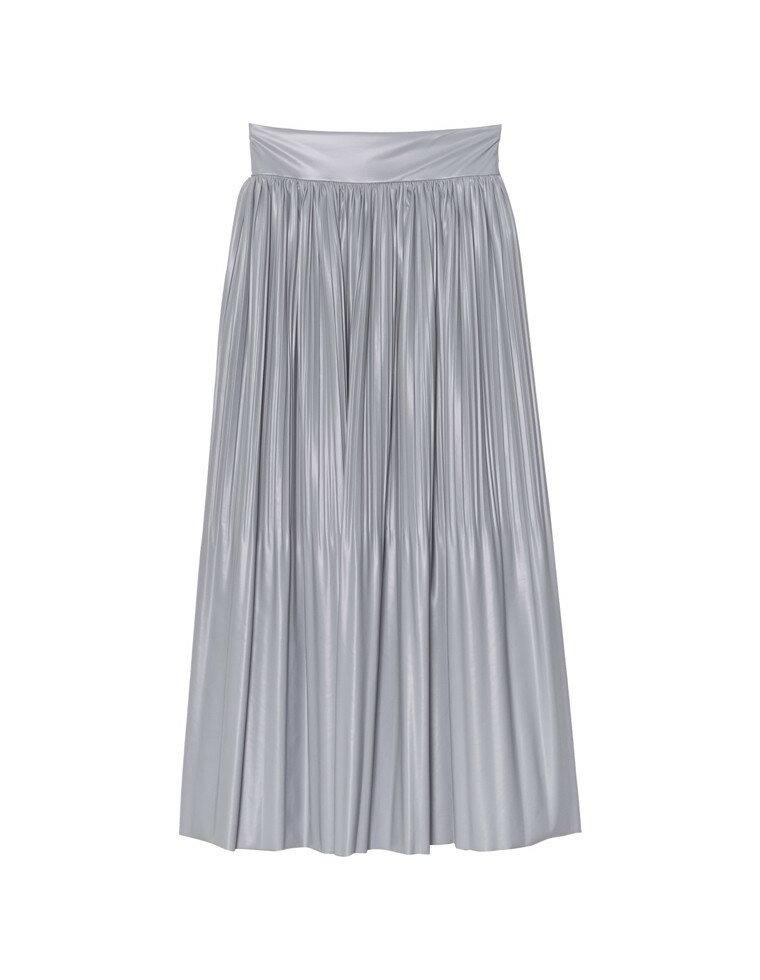 [低身長向けSサイズ有]ライトヴィーガンレザー消しプリーツスカート