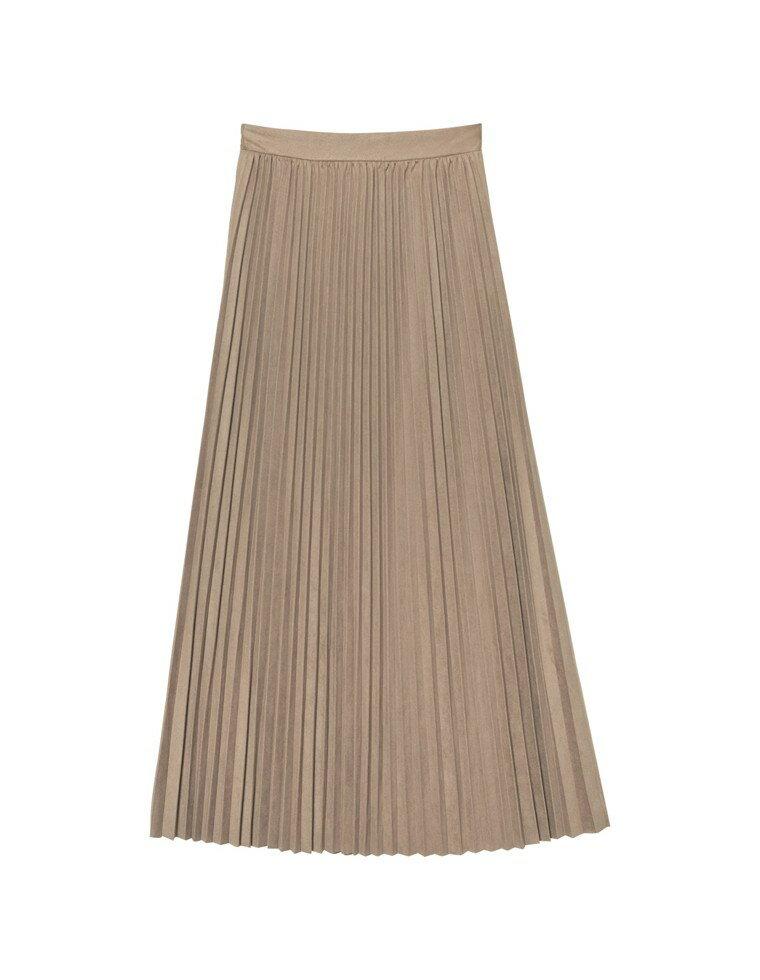 [低身長サイズ有]フェイクスウェードプリーツロングスカート