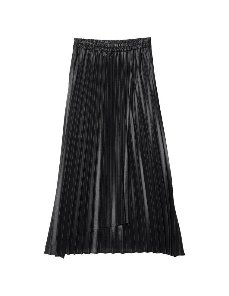 [低身長サイズ有]シアーシフォンラッププリーツスカート